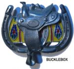 SADDLE (side view) BELT BUCKLE + display stand